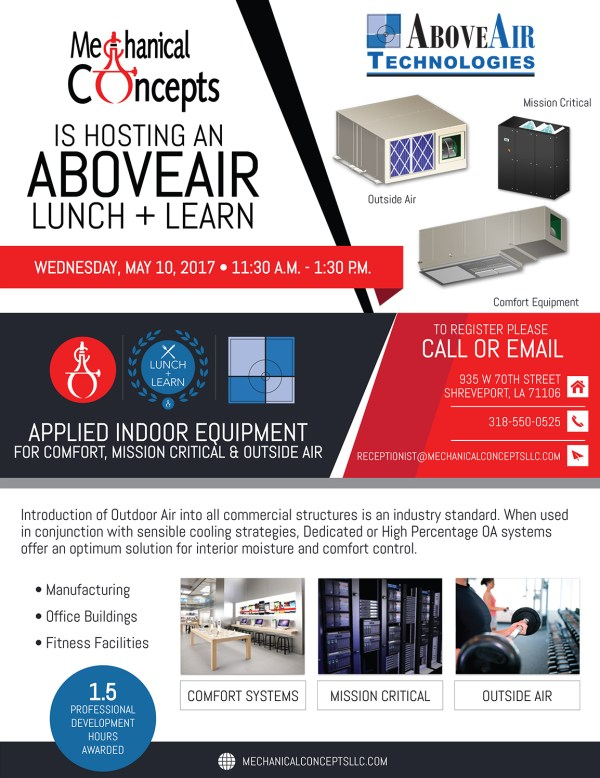 AboveAir Lunch + Learn Seminar @ Mechanical Concepts | Shreveport | Louisiana | United States