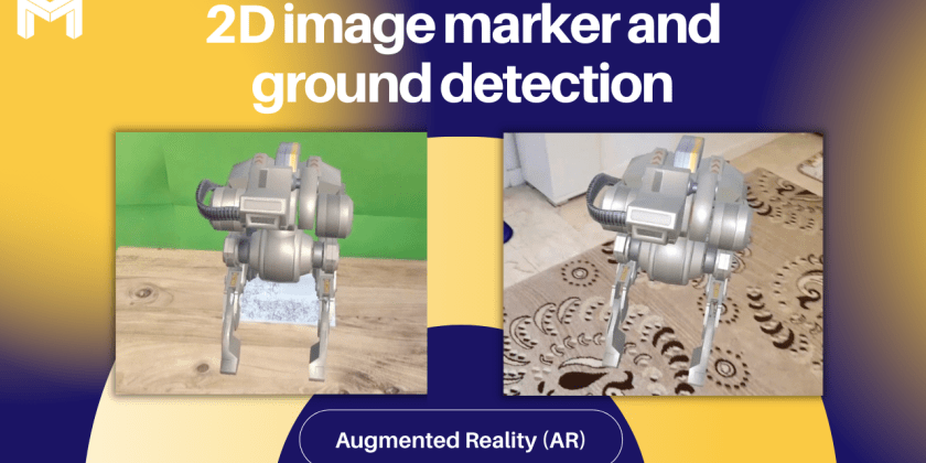 Augmented Reality (AR) Scene with 2D Image Marker and Ground Detection