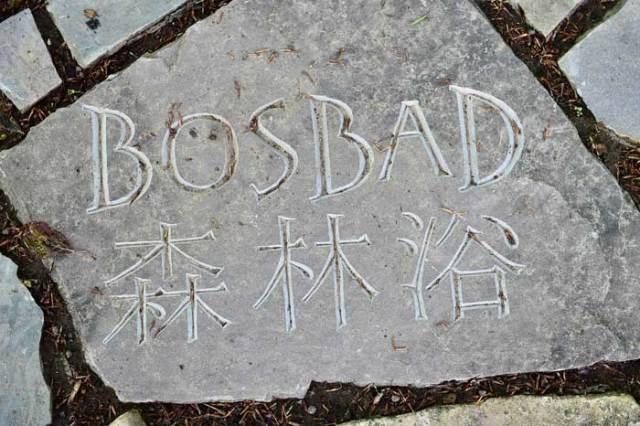 Stenen met inscripties wijzen u de weg naar het Bosbadpad