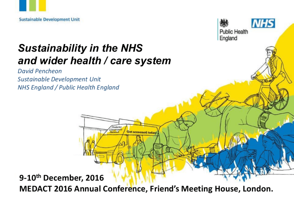 """David Pencheon – """"Sustainability in the NHS and wider health / care system"""""""