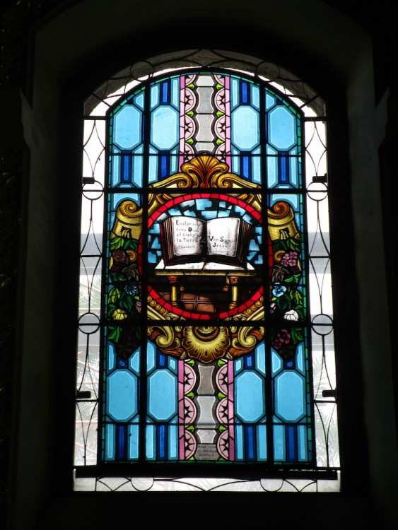 One of the stained glass windows in Iglesia de Santa Gertrudis