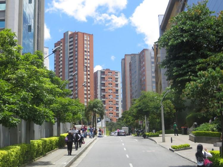 Apartment buildings in El Poblado near Santafé mall