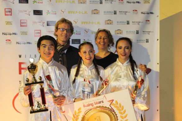 Laetitia, Quincy en Niké (Kung Fu Warriors) winnen Rising Stars 2017 (Foto: Ingrid Koning)