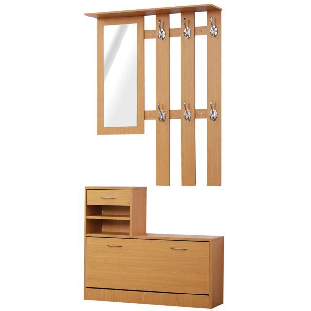 ensemble de meubles d entree design contemporain meuble chaussures miroir et panneau porte manteau panneaux de particules imitation bois clair