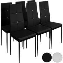 rocambolesk superbe 6x chaise salle a manger noir neuf