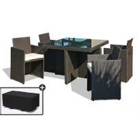 dcb garden table de jardin avec 4 fauteuils encastrables noirs et une housse de protection