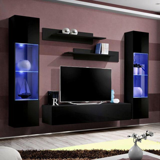 ensemble meuble tv suspendu noir larissa