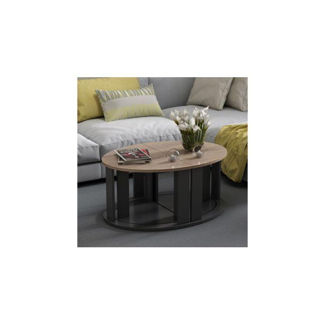 homemania table basse antella compacte modulable avec etageres pour salon canape noir en bois 90 x 60 x 41 cm