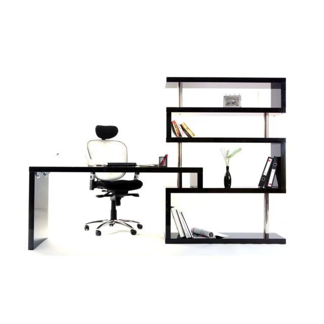 miliboo bureau design noir laque amovible t max