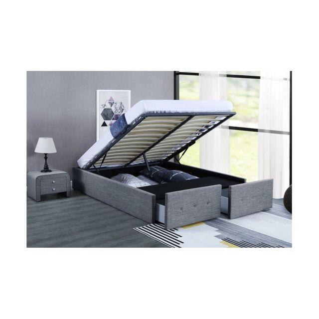 siggy lit coffre lin gris souris 160x200 cm 2 tiroirs