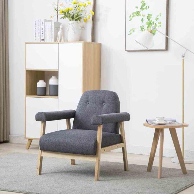 fauteuil tissu gris fonce canape de salon chaise siege bureau maison