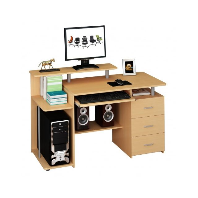 hjh office table d ordinateur bureau stella hetre avec caisson fixe hjh office