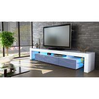 mpc meuble tv blanc et gris 189 cm avec led