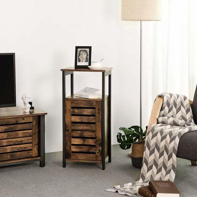 meuble de rangement armoire de rangement style industriel table d appoint bout de canape pour salon chambre couloir 37 x 30 x 81 cm vintage