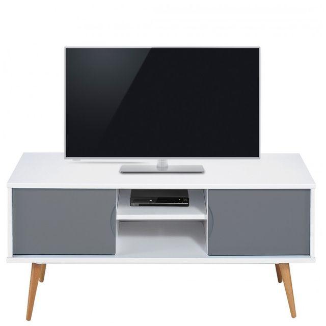 beaux meubles pas chers meuble tv blanc gris 2 portes 4 pieds chene vintage