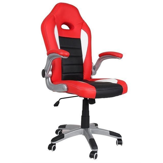 rocambolesk superbe chaise de bureau sport siege baquet rouge noir blanc