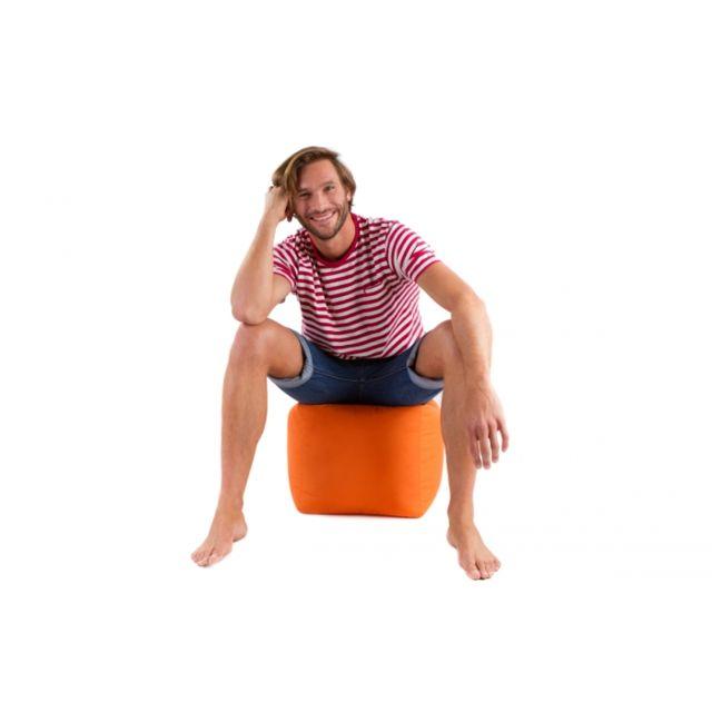 Deco Maison Pouf D Appoint En Forme De Cube Couleur Orange Jumbo Bag Pas Cher Achat Vente Coussins Galettes De Jardin Rueducommerce