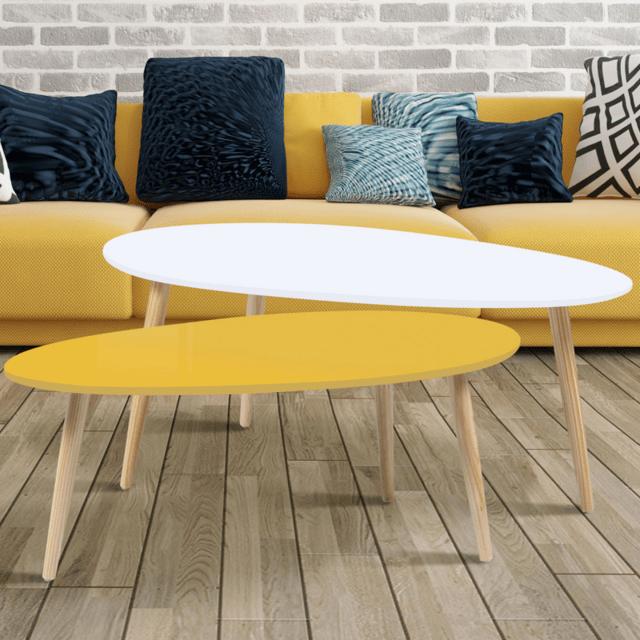 lot de 2 tables basses gigognes laquees jaune blanc scandinave
