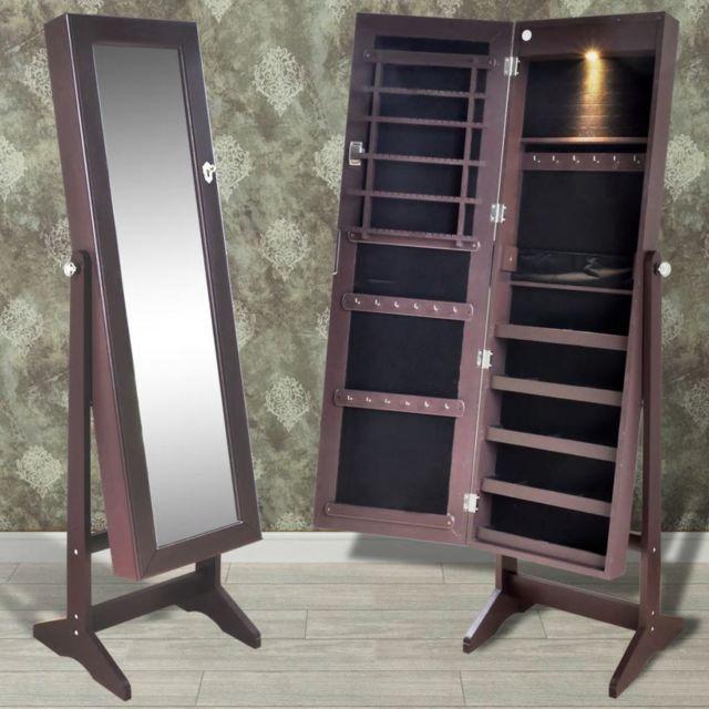 armoire a bijoux sur pied avec miroir et eclairage led brun