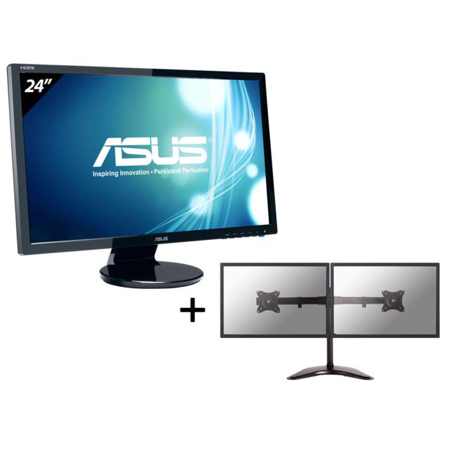 ASUS Pack 2 Crans VE247H Support Newstar Double