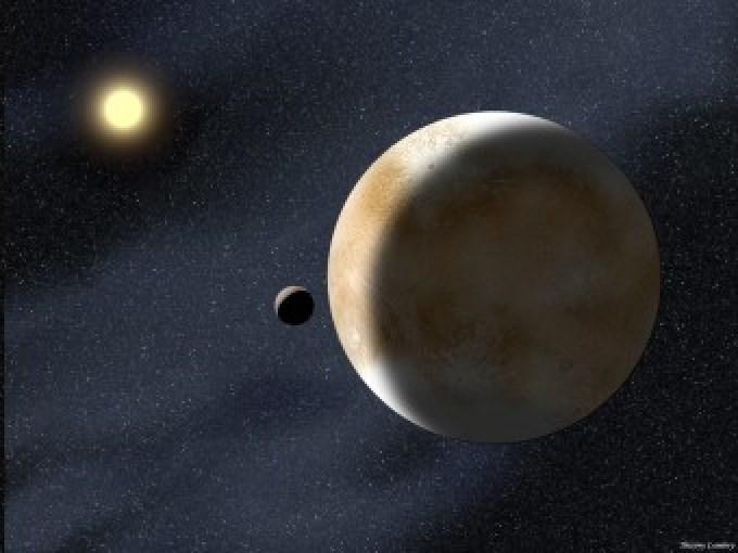 Rappresentazione artistica del pianeta nano Eris e della sua luna Disnomia, con il Sole in lontananza. Crediti: Thierry Lombry/NASA