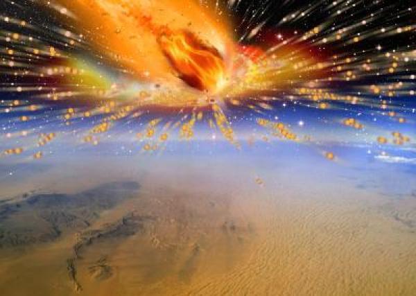 Riproduzione di come si possa essere verificata l'esplosione di una cometa sopra i cieli del Sahara di 28 milioni di anni fa. Crediti: Terry Bakker