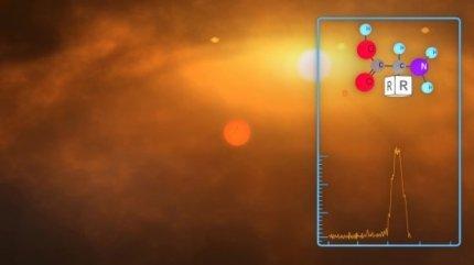 Rappresentazione artistica della ricerca di molecole complesse in un disco protoplanetario