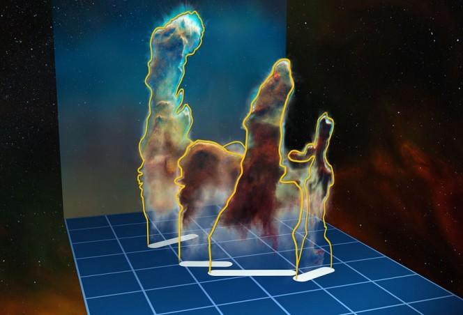 La visualizzazione della struttura tridimensionale dei Pilastri della Creazione all'interno della regione di formazione stellare Messier 16 (nota anche come Nebulosa Aquila) è basata su nuove osservazioni dell'oggetto ottenute con lo strumento MUSE montato sul VLT (Very Large Telescope) dell'ESO in Cile. I pilastri sono formati da diversi pezzi separati, che si trovano da entrambi i lati dell'ammasso stellare NGC 6611. In questa illustrazione, la distanza relativa tra i pilastri lungo la linea di vista non è in scala. Crediti: ESO/M. Kornmesser