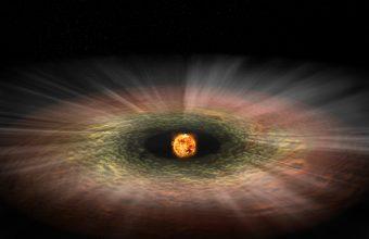 Illustrazione (non in scala) di una tipica stella di piccola massa con relativo disco di formazione planetaria, il quale viene eroso dalla radiazione in raggi X. Crediti: NASA/CXC/M.Weiss