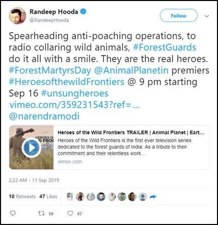 Randeep Hooda tweeted