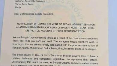 Photo of Group Writes Senate President, To Recall Sen. Adamu Muhammad of Bauchi
