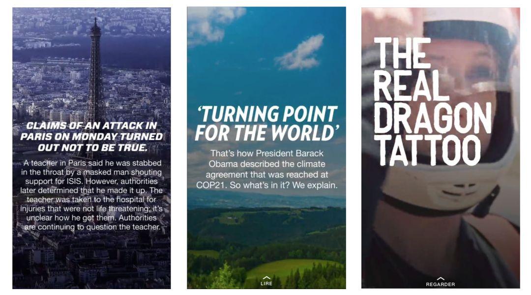 Trois des sujets traités le 14 décembre 2015 par CNN sur Snapchat