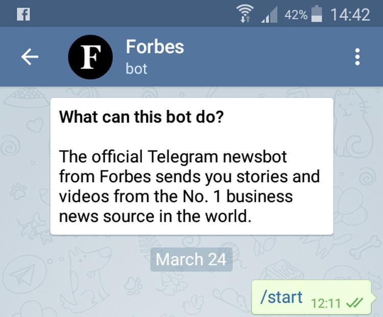 Sur l'application Telegram, Forbes utilise un robot pour donner l'info