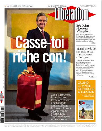 La Une de Libération du 10 septembre 2012