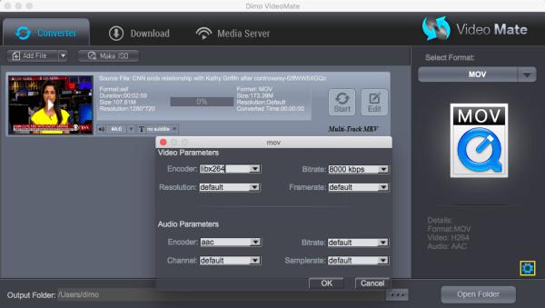 QT mov settings