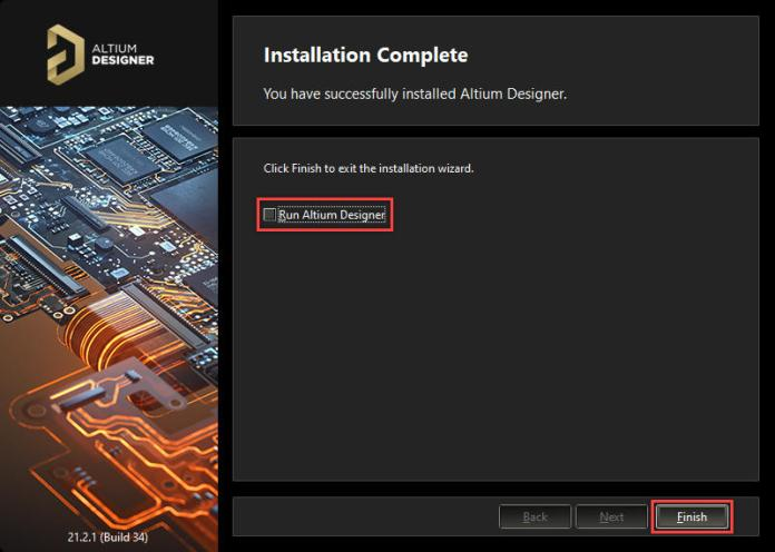 Kết thúc quá trình cài đặt phần mềm Altium Designer