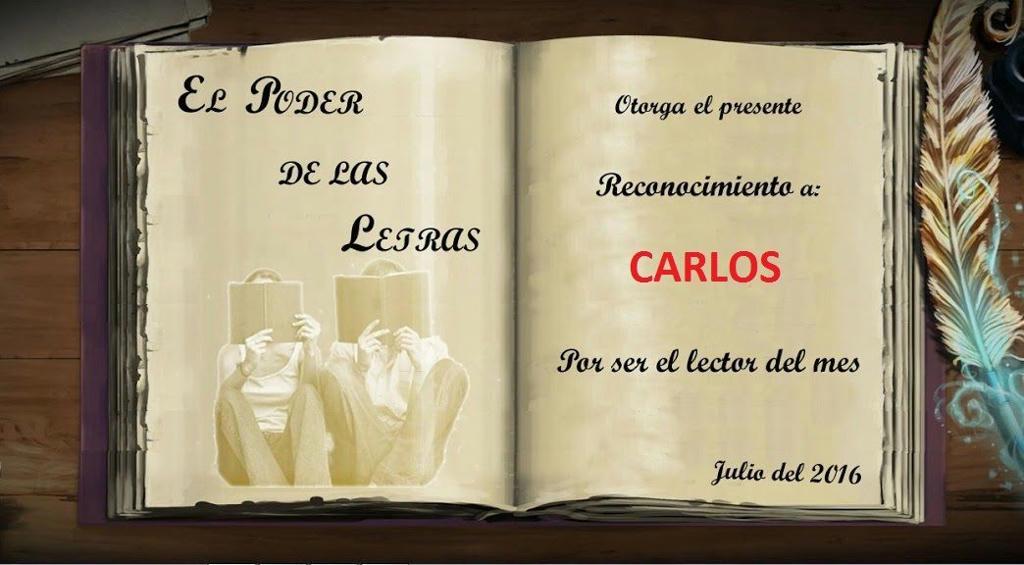 Premio al Lector del Mes de Julio 2016.