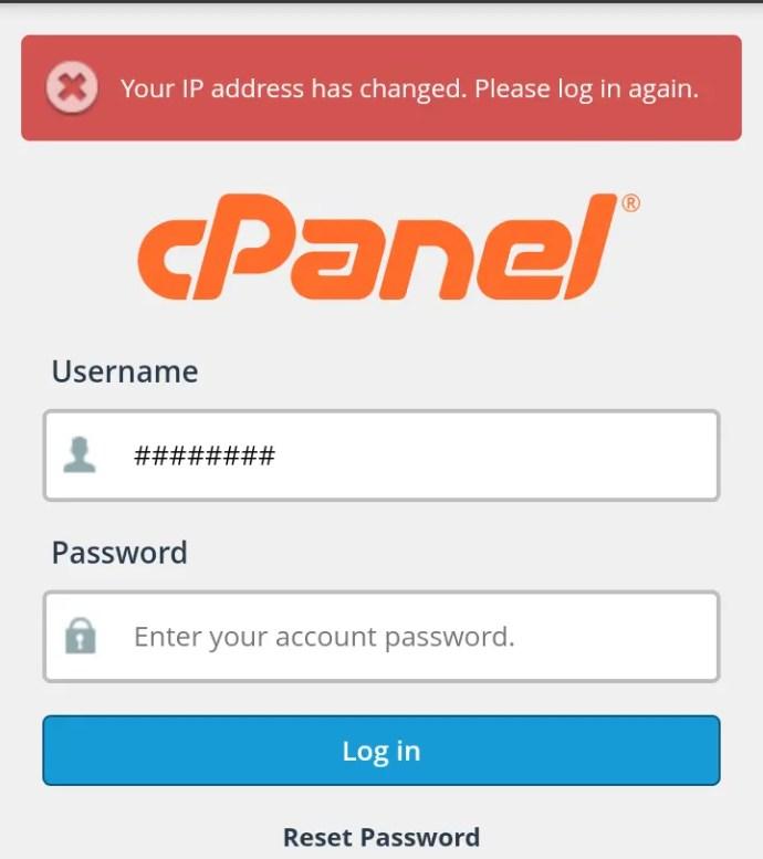 How fix IP address change error massage on cPanel