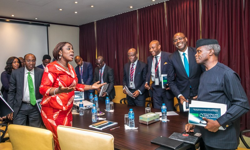 VICE PRESIDENT YEMI OSINBAJO, SAN, RECEIVED A DELEGATION OF BANK CEOs, A COMMITTEE OF CIBN GOVERNING COUNCIL. 8th March 2018.
