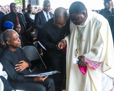 VP attends Funeral Mass of Catholic Priest & Worshipers who lost their lives in last months violent attack in Mbalom, Benue State