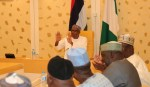 President Muhammadu Buhari in a meeting with APC Caucus Senate at the Presidential Villa. Wednesday Night in Abuja. PHOTO; SUNDAY AGHAEZE. JULY 25, 2018.
