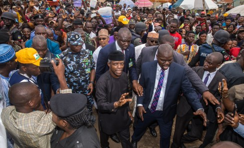 VP Osinbajo at Nyanya Market, Abuja, for the official Launch of the Trader Moni Program.