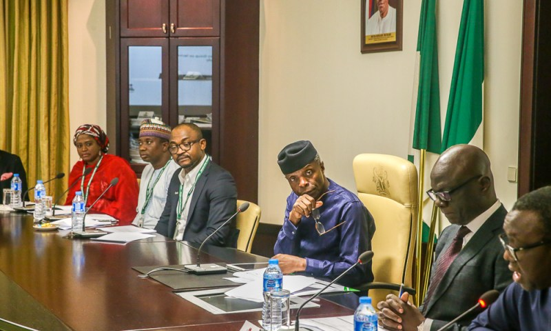 Vice President Yemi Osinbajo, SAN, presides over Advisory Group on Technology & Creativity under the Industrial Competitiveness Council; held at State House, Abuja. 8th October, 2018.