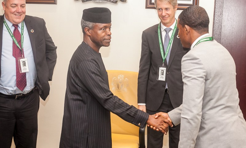 Vice President Yemi Osinbajo, SAN, receives in audience a delegation of GSM Association led by the Director General GSMA, Mr. Mats Granryd, at the Presidential Villa, Abuja.