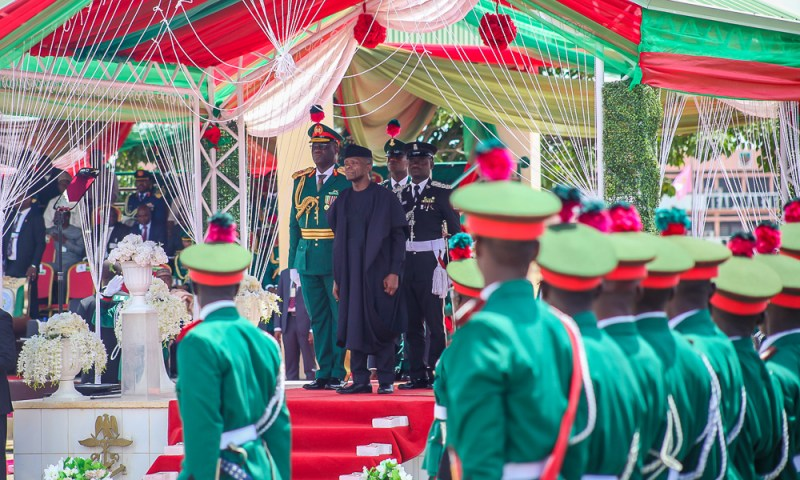 VP Osinbajo at the Passing out Parade of , commissioning and oath taking ceremony in honour of Cadets of 65 Regular Course (Army) and 66 Regular Course (Navy & Airforce) at the Nigerian Defence Academy (NDA), Kaduna. 6th October, 2018.