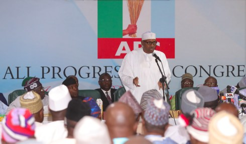 PRESIDENT BUHARI ATTENDS APC CAUCUS EMERGENCY MEETING. FEB 1