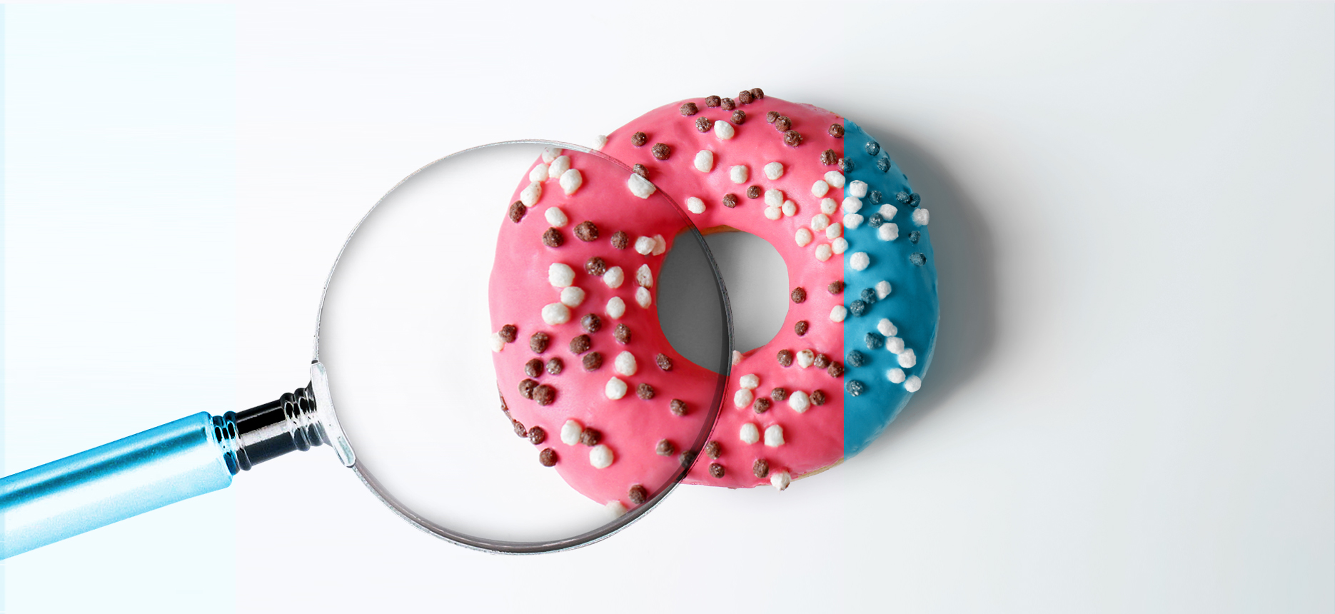 donut and magnifier - media link marketing agency