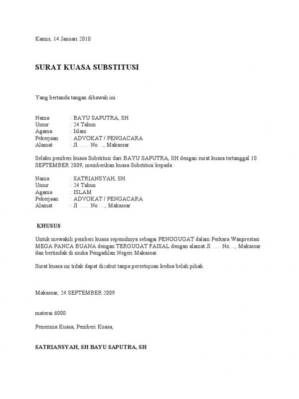 contoh surat kuasa subtitusi