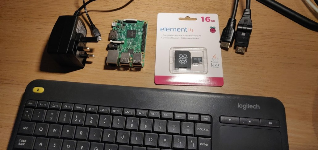 Equipment required to configure a Raspberry Pi.