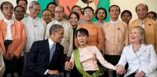 Barack Obama and Hillary Clinton with Aung San Suu Kyi